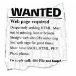 Mit einer Kleinanzeige wird nach der HTML-Seite gesucht.