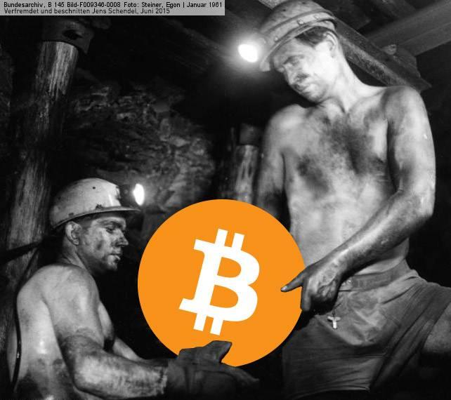 Minenarbeiter fördern Bitcoin unterTage