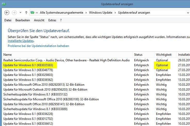 Das rätselhafte KB3035583, das für die nervigen Windows-Upgrade-Fenster verantwortlich ist. Hier bei Microsoft Windows 8.1.
